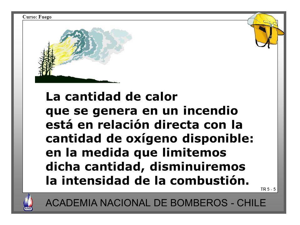Curso: Fuego ACADEMIA NACIONAL DE BOMBEROS - CHILE La cantidad de calor que se genera en un incendio está en relación directa con la cantidad de oxígeno disponible: en la medida que limitemos dicha cantidad, disminuiremos la intensidad de la combustión.