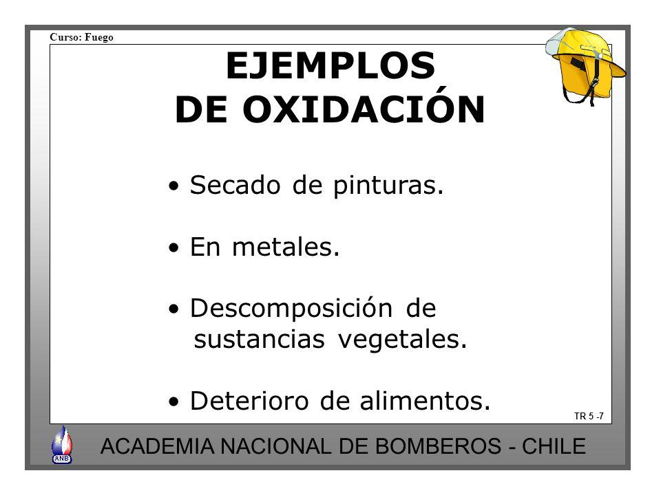 Curso: Fuego ACADEMIA NACIONAL DE BOMBEROS - CHILE EJEMPLOS DE OXIDACIÓN TR 5 -7 Secado de pinturas. En metales. Descomposición de sustancias vegetale