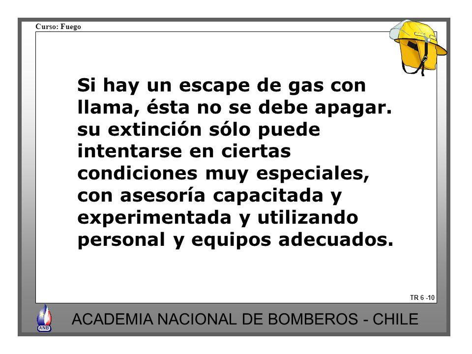 Curso: Fuego ACADEMIA NACIONAL DE BOMBEROS - CHILE Si hay un escape de gas con llama, ésta no se debe apagar. su extinción sólo puede intentarse en ci
