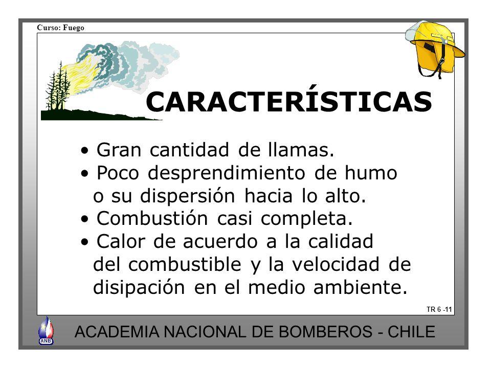 Curso: Fuego ACADEMIA NACIONAL DE BOMBEROS - CHILE CARACTERÍSTICAS TR 6 -11 Gran cantidad de llamas. Poco desprendimiento de humo o su dispersión haci
