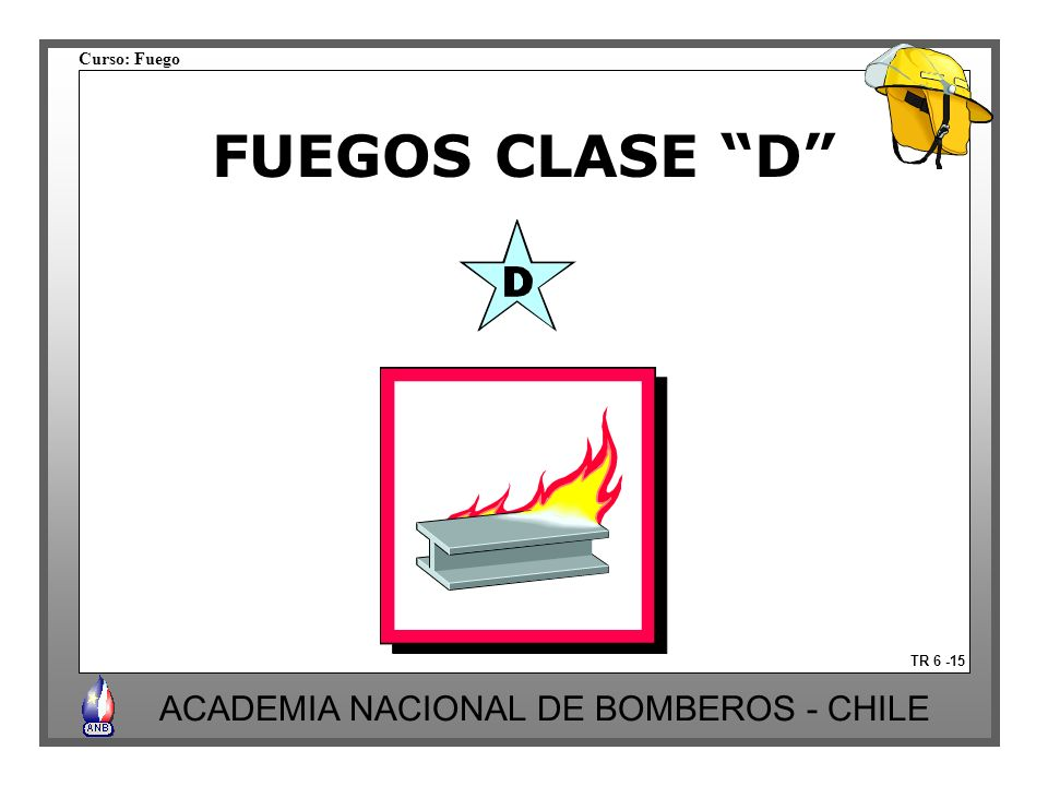 Curso: Fuego ACADEMIA NACIONAL DE BOMBEROS - CHILE TR 6 -15 FUEGOS CLASE D