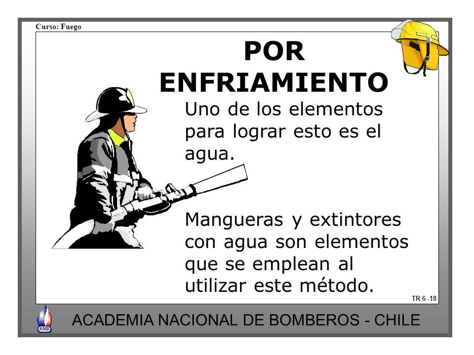 Curso: Fuego ACADEMIA NACIONAL DE BOMBEROS - CHILE POR ENFRIAMIENTO TR 6 -18 Uno de los elementos para lograr esto es el agua. Mangueras y extintores