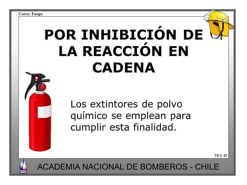 Curso: Fuego ACADEMIA NACIONAL DE BOMBEROS - CHILE POR INHIBICIÓN DE LA REACCIÓN EN CADENA TR 6 -21 Los extintores de polvo químico se emplean para cu