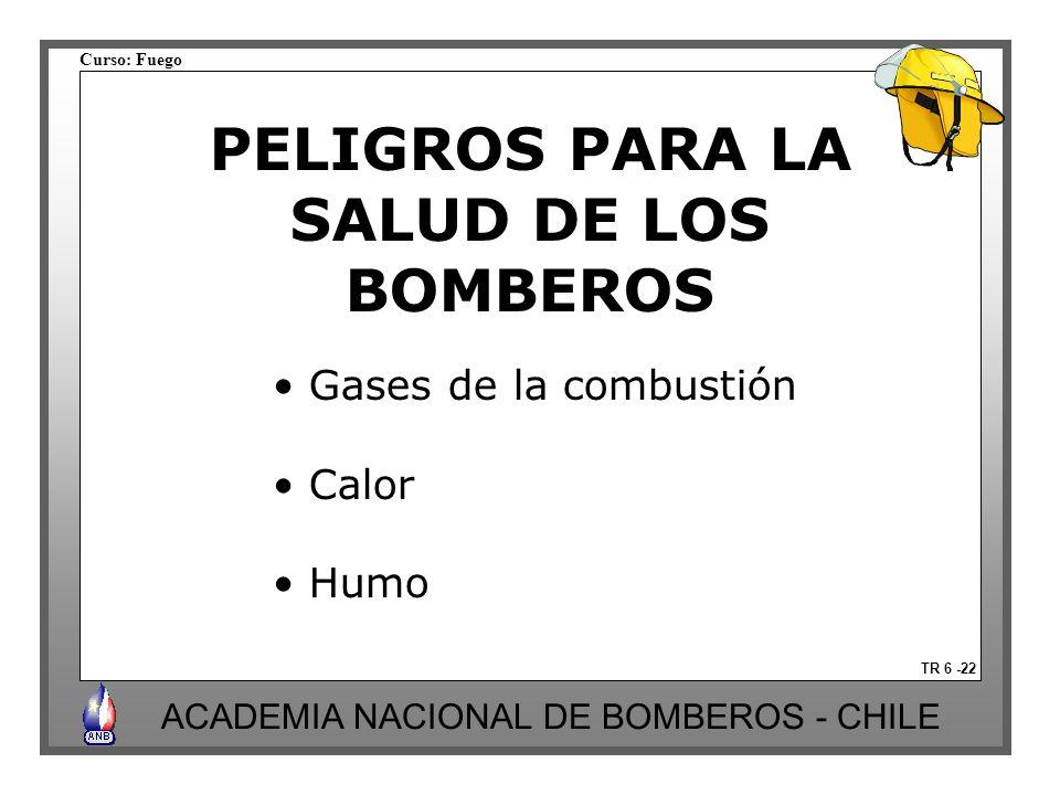 Curso: Fuego ACADEMIA NACIONAL DE BOMBEROS - CHILE PELIGROS PARA LA SALUD DE LOS BOMBEROS TR 6 -22 Gases de la combustión Calor Humo