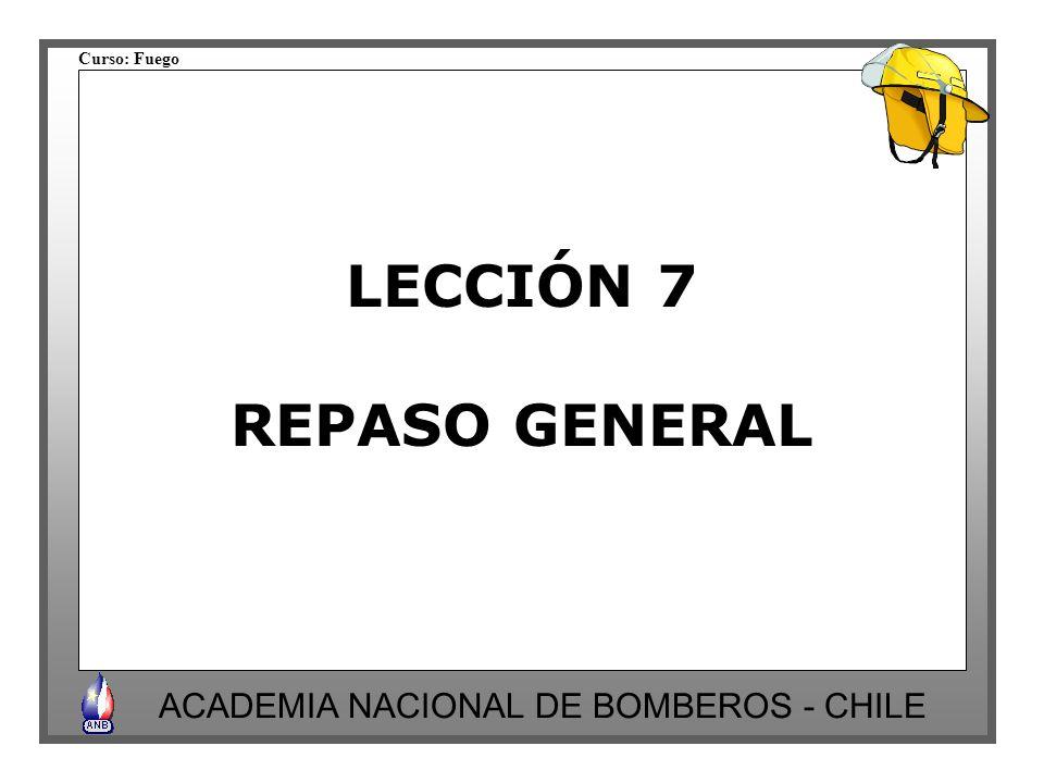 Curso: Fuego ACADEMIA NACIONAL DE BOMBEROS - CHILE LECCIÓN 7 REPASO GENERAL