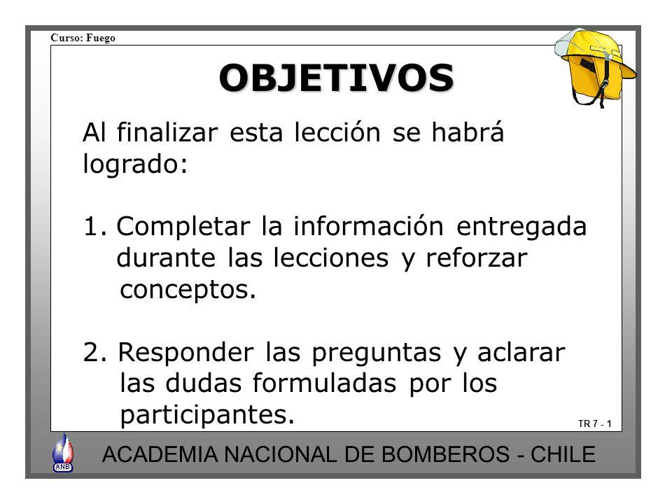 Curso: Fuego ACADEMIA NACIONAL DE BOMBEROS - CHILE OBJETIVOS TR 7 - 1 Al finalizar esta lección se habrá logrado: 1.Completar la información entregada durante las lecciones y reforzar conceptos.