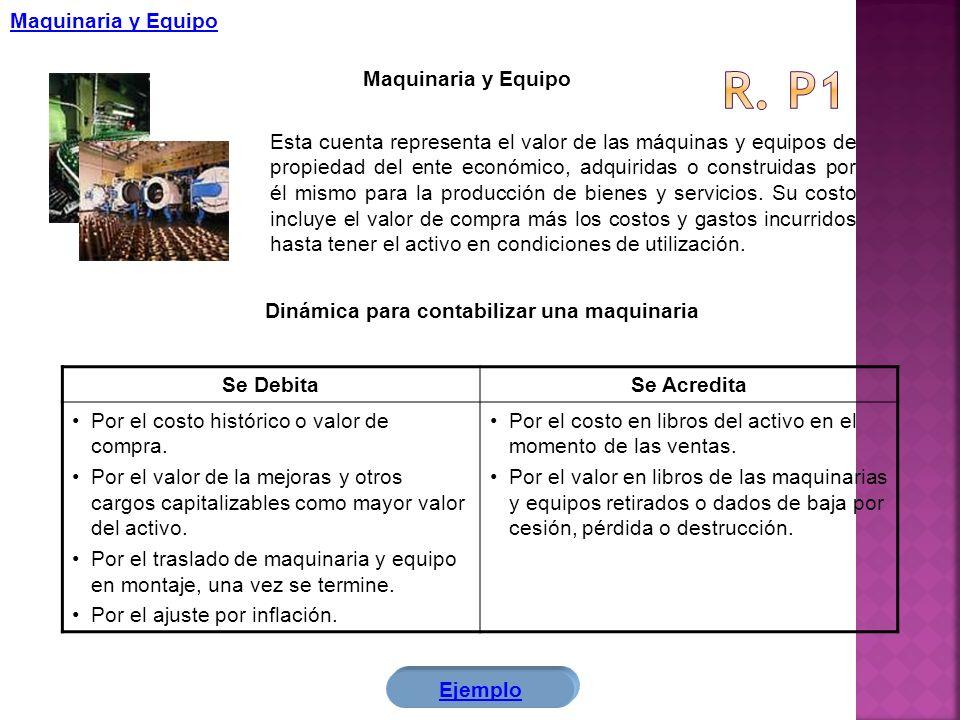 Maquinaria y Equipo Esta cuenta representa el valor de las máquinas y equipos de propiedad del ente económico, adquiridas o construidas por él mismo p