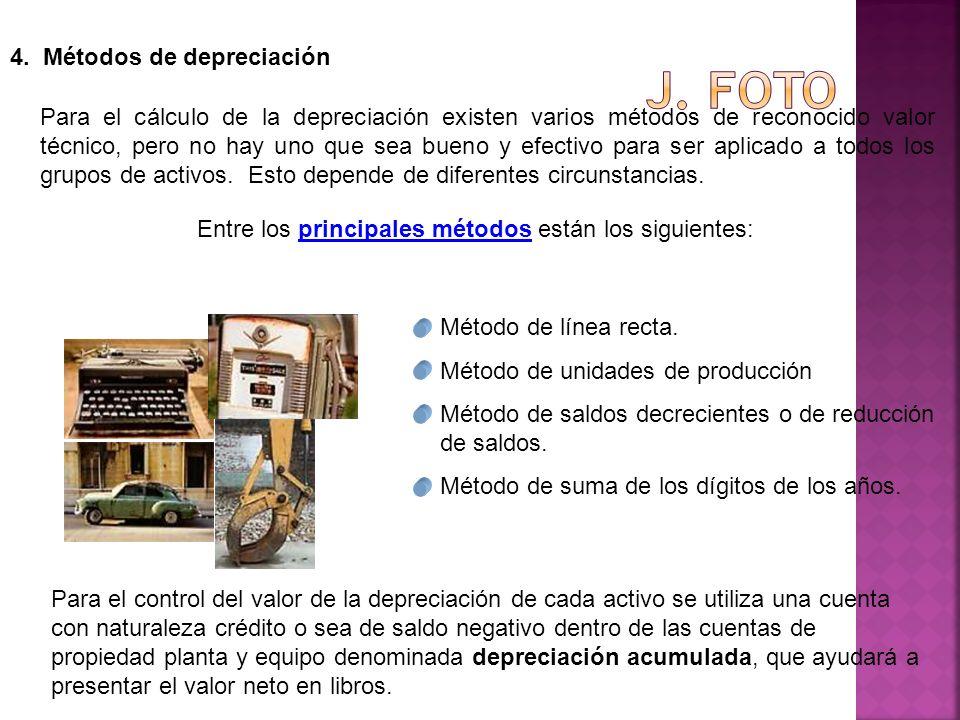 4. Métodos de depreciación Para el cálculo de la depreciación existen varios métodos de reconocido valor técnico, pero no hay uno que sea bueno y efec