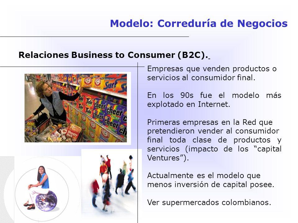 Relaciones Business to Consumer (B2C). Empresas que venden productos o servicios al consumidor final. En los 90s fue el modelo más explotado en Intern