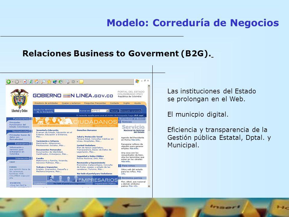 Relaciones Business to Goverment (B2G). Las instituciones del Estado se prolongan en el Web. El municpio digital. Eficiencia y transparencia de la Ges