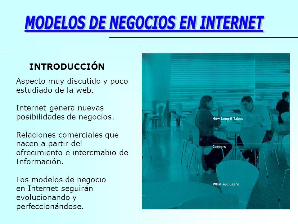 Aspecto muy discutido y poco estudiado de la web. Internet genera nuevas posibilidades de negocios. Relaciones comerciales que nacen a partir del ofre
