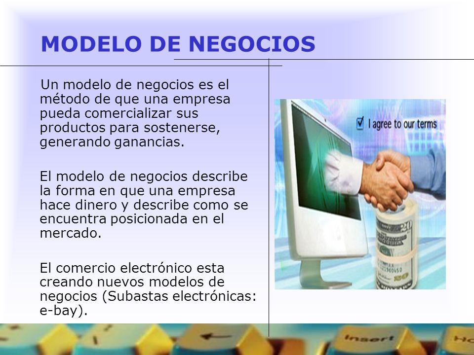 MODELO DE NEGOCIOS Existen distintos modelos de negocios en el web: Correduría de Negocios (brokerage) Publicidad (advertising).