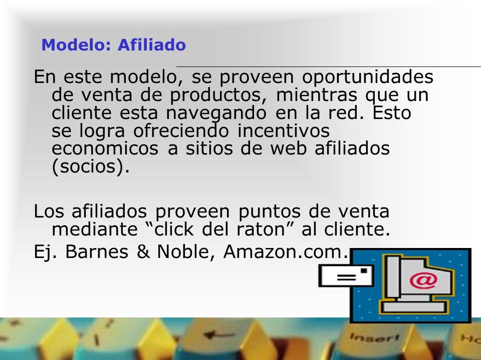 Modelo: Afiliado En este modelo, se proveen oportunidades de venta de productos, mientras que un cliente esta navegando en la red. Esto se logra ofrec