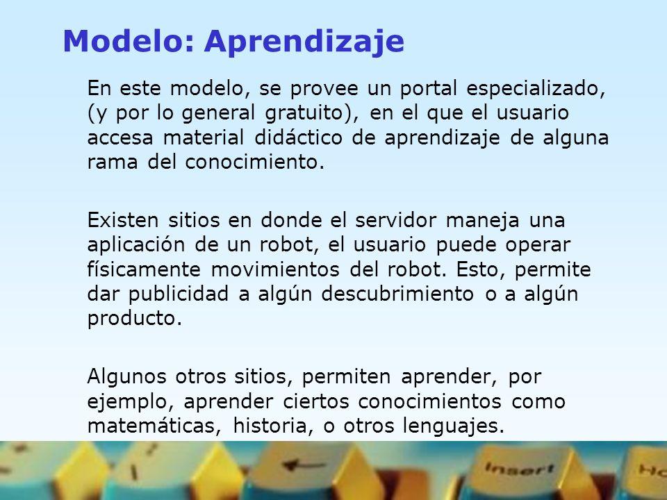 Modelo: Aprendizaje En este modelo, se provee un portal especializado, (y por lo general gratuito), en el que el usuario accesa material didáctico de