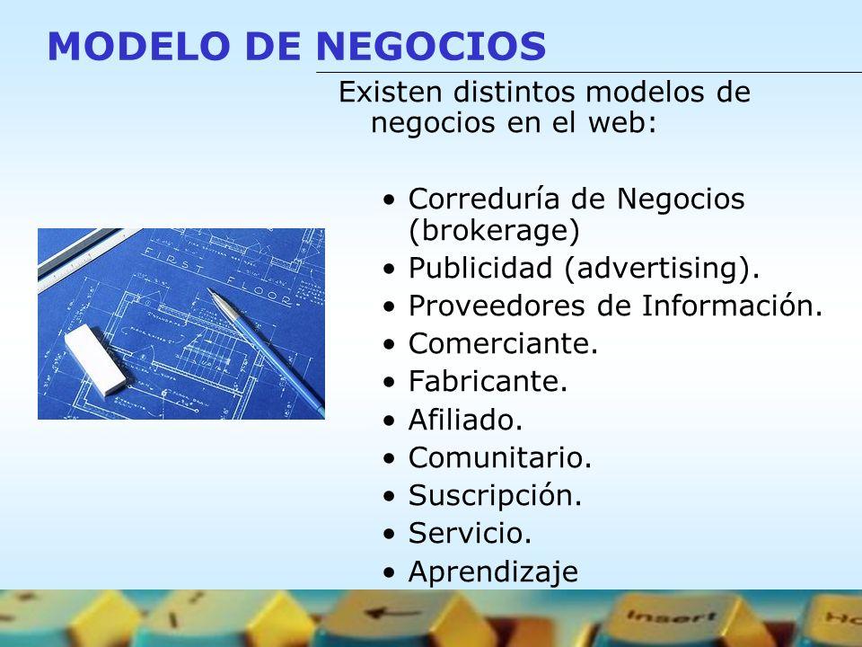 MODELO DE NEGOCIOS Existen distintos modelos de negocios en el web: Correduría de Negocios (brokerage) Publicidad (advertising). Proveedores de Inform