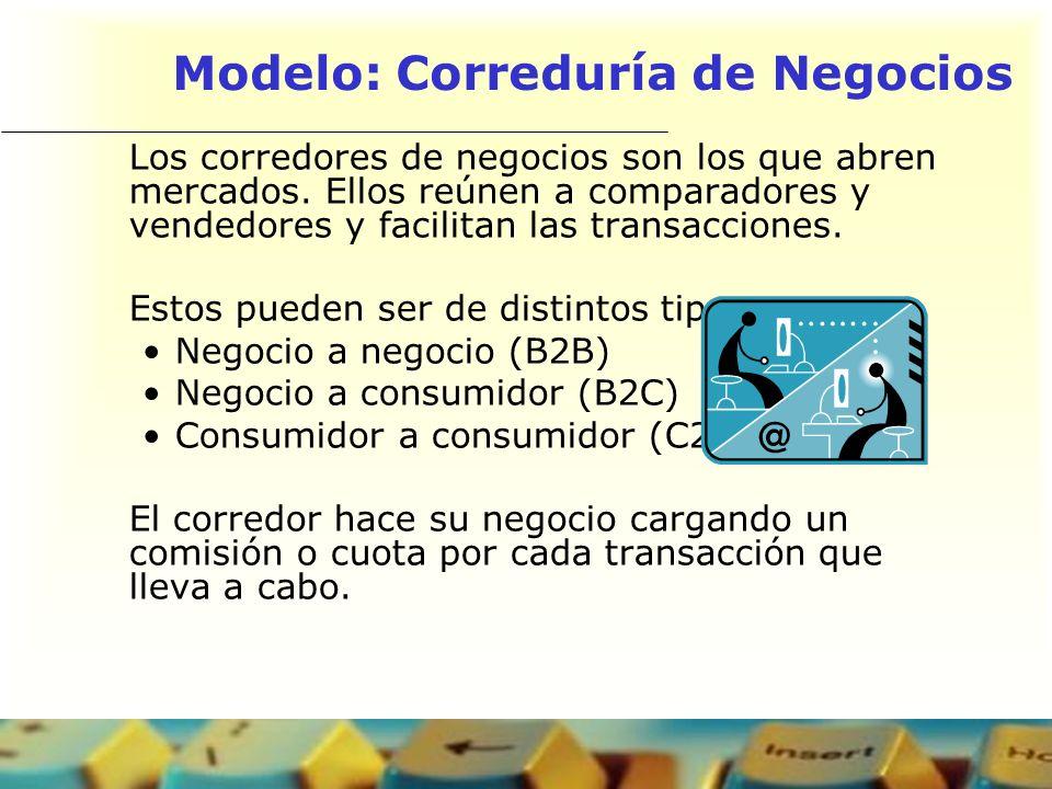 Modelo: Correduría de Negocios Los corredores de negocios son los que abren mercados. Ellos reúnen a comparadores y vendedores y facilitan las transac