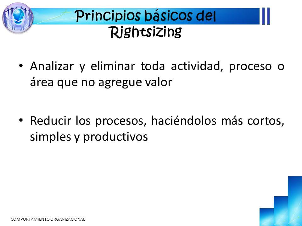 Analizar y eliminar toda actividad, proceso o área que no agregue valor Reducir los procesos, haciéndolos más cortos, simples y productivos COMPORTAMIENTO ORGANIZACIONAL Principios básicos del Rightsizing