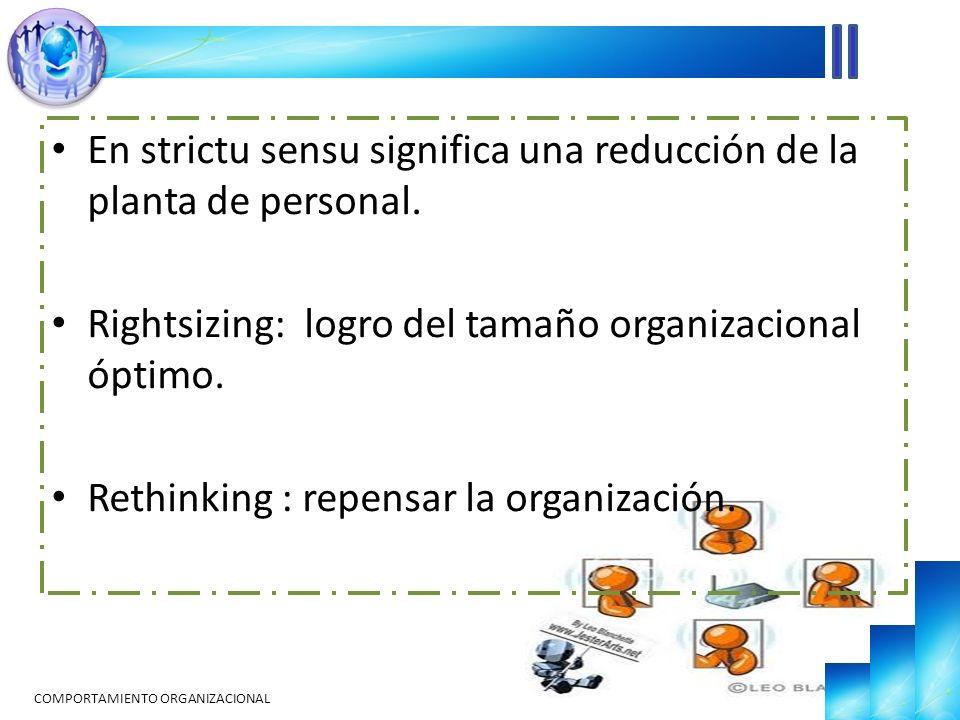 En strictu sensu significa una reducción de la planta de personal. Rightsizing: logro del tamaño organizacional óptimo. Rethinking : repensar la organ