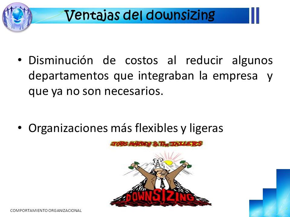 Disminución de costos al reducir algunos departamentos que integraban la empresa y que ya no son necesarios. Organizaciones más flexibles y ligeras CO