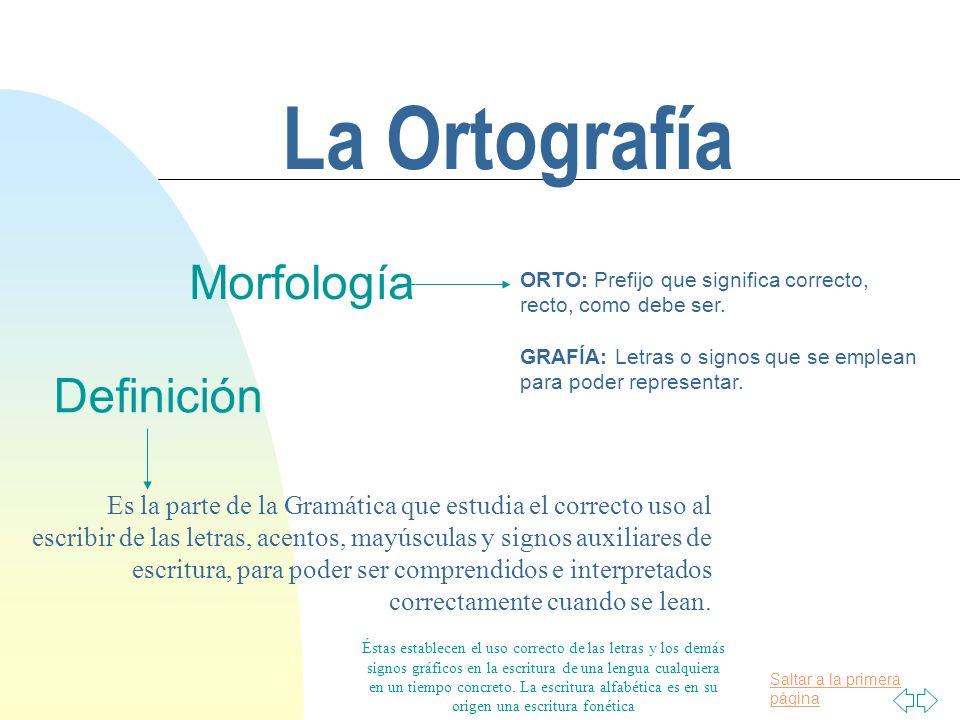 Saltar a la primera página La Ortografía Morfología ORTO: Prefijo que significa correcto, recto, como debe ser.