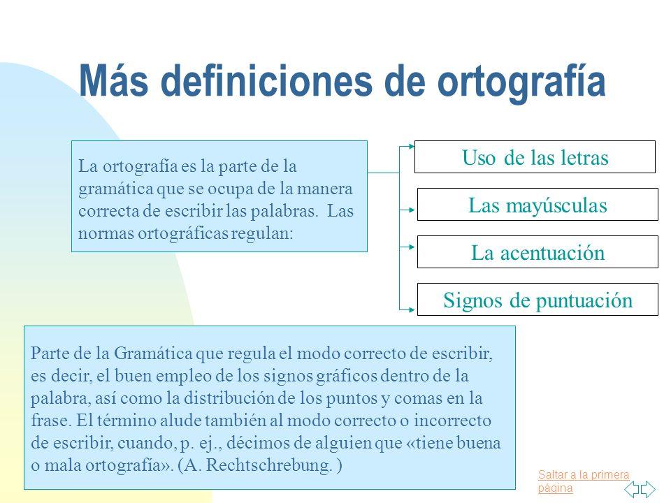 Saltar a la primera página Más definiciones de ortografía La ortografía es la parte de la gramática que se ocupa de la manera correcta de escribir las palabras.