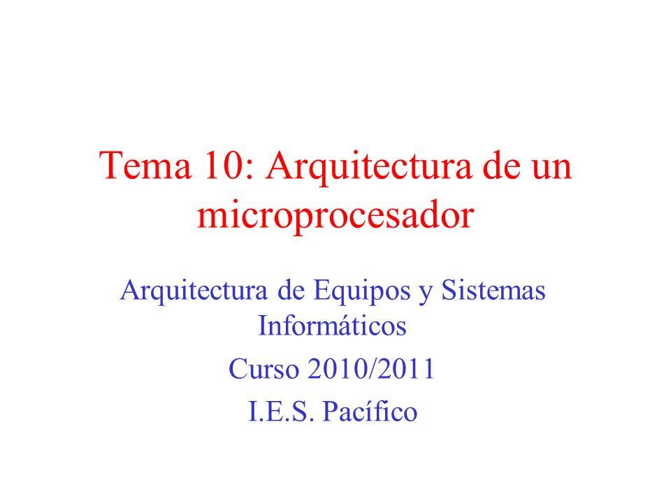 Tema 10: Arquitectura de un microprocesador Arquitectura de Equipos y Sistemas Informáticos Curso 2010/2011 I.E.S.