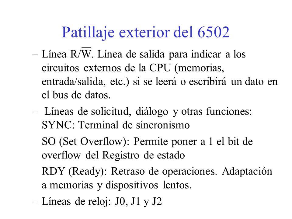 Patillaje exterior del 6502 Alimentación y masa: Vcc y GND Bus de datos: D0 … D7 Bus de direcciones: A0 … A15 Bus de control: –Línea de inicialización