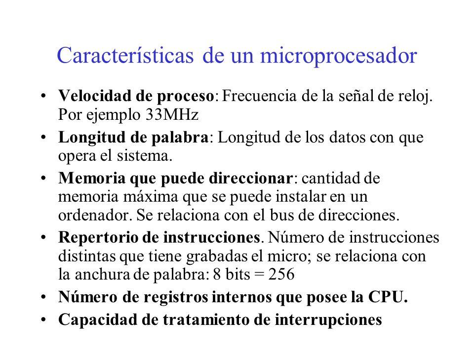 Clasificación de los microprocesadores Se clasifican en función de la longitud del bus de datos. –Micros de 4 bits: electrodomésticos, juegos. –Micros