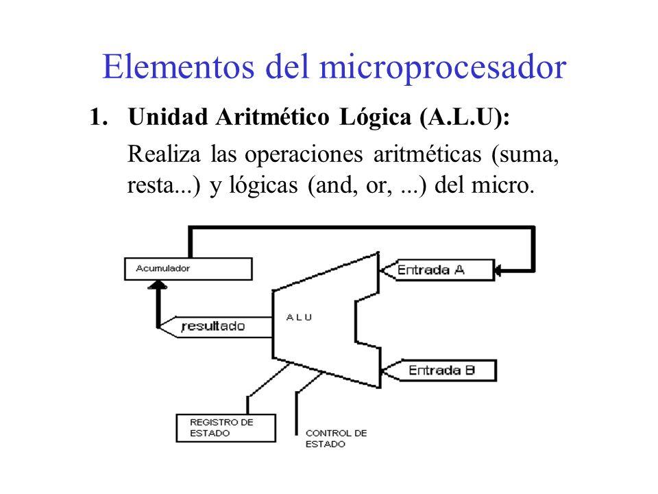 El microprocesador integra en una sola pastilla la Unidad de Control, la ALU y una pequeña memoria interna (registros y acumuladores), capaz de realiz