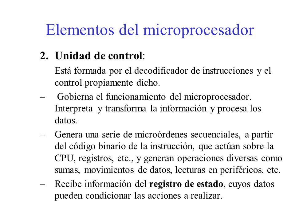 1.Unidad Aritmético Lógica (A.L.U): Realiza las operaciones aritméticas (suma, resta...) y lógicas (and, or,...) del micro.