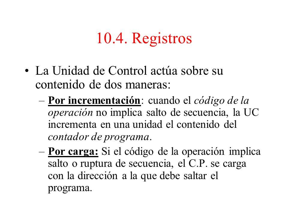 1.El contador de programa Controla la obtención de instrucciones desde la memoria. El número de bits de este registro será igual al número de líneas d