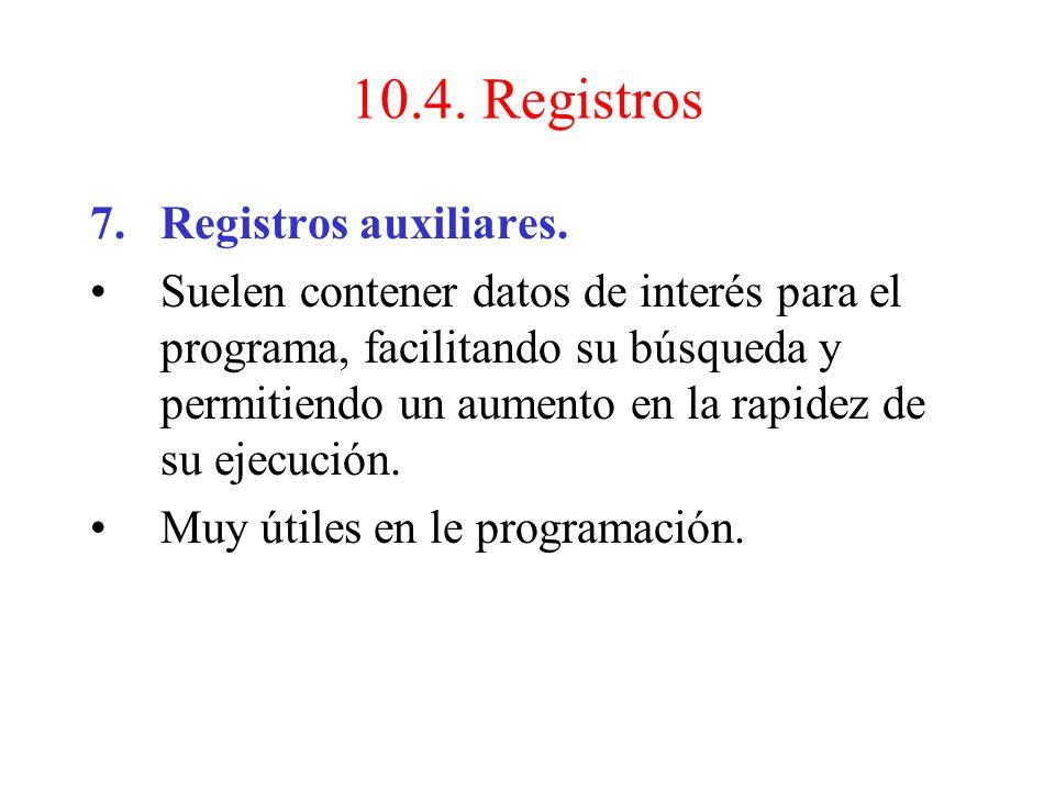 6.Registro de datos de memoria (MDR) Almacena datos que van y vienen de la memoria o de los dispositivos I/O. 10.4. Registros