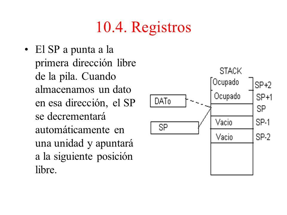 8.Puntero de pila (SP) Registro que controla una zona de la memoria, llamada pila, en la cual se depositan temporalmente datos que la CPU tendrá que r