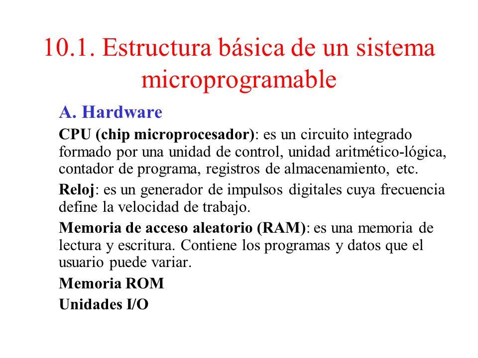 Tema 10: Arquitectura de un microprocesador 10.1. Estructura básica de un sistema microprogramable 10.2. Ciclos de trabajo de un microprocesador 10.3.