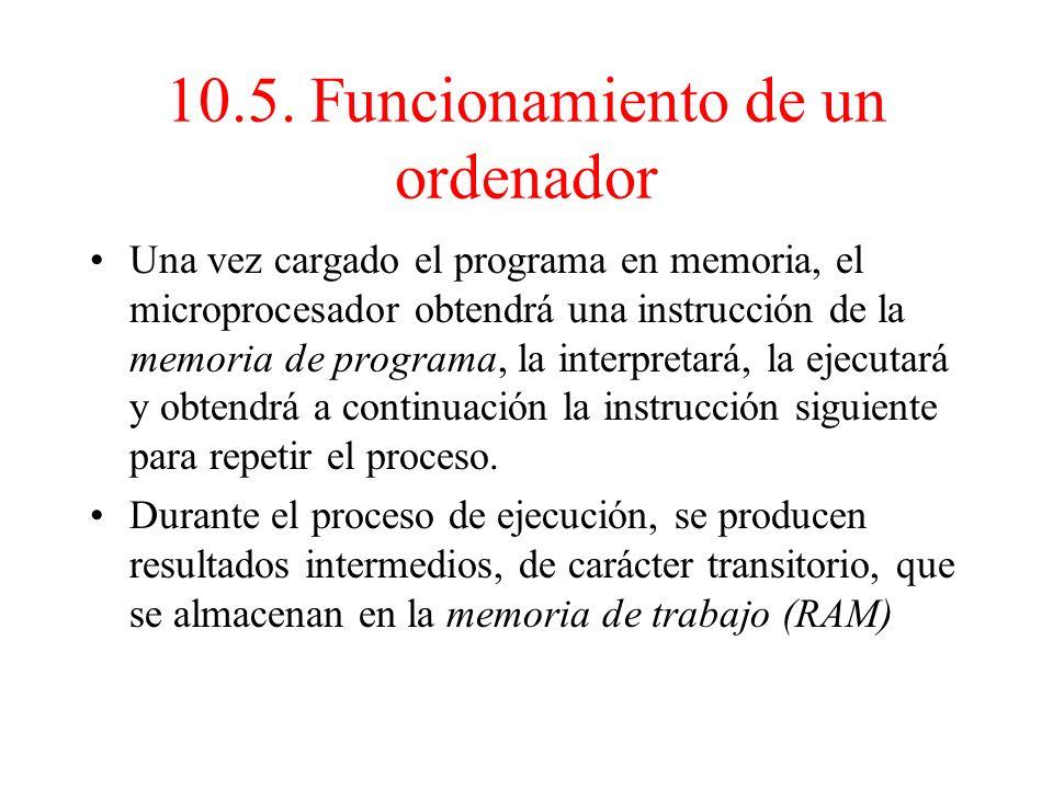 10.5. Funcionamiento de un ordenador Un ordenador es un sistema electrónico digital capaz de ejecutar de forma secuencial las instrucciones contenidas