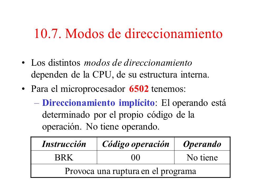 10.7. Modos de direccionamiento. La forma de especificar el operando de una instrucción ( registro de la CPU, posición de memoria o unidad I/O) recibe