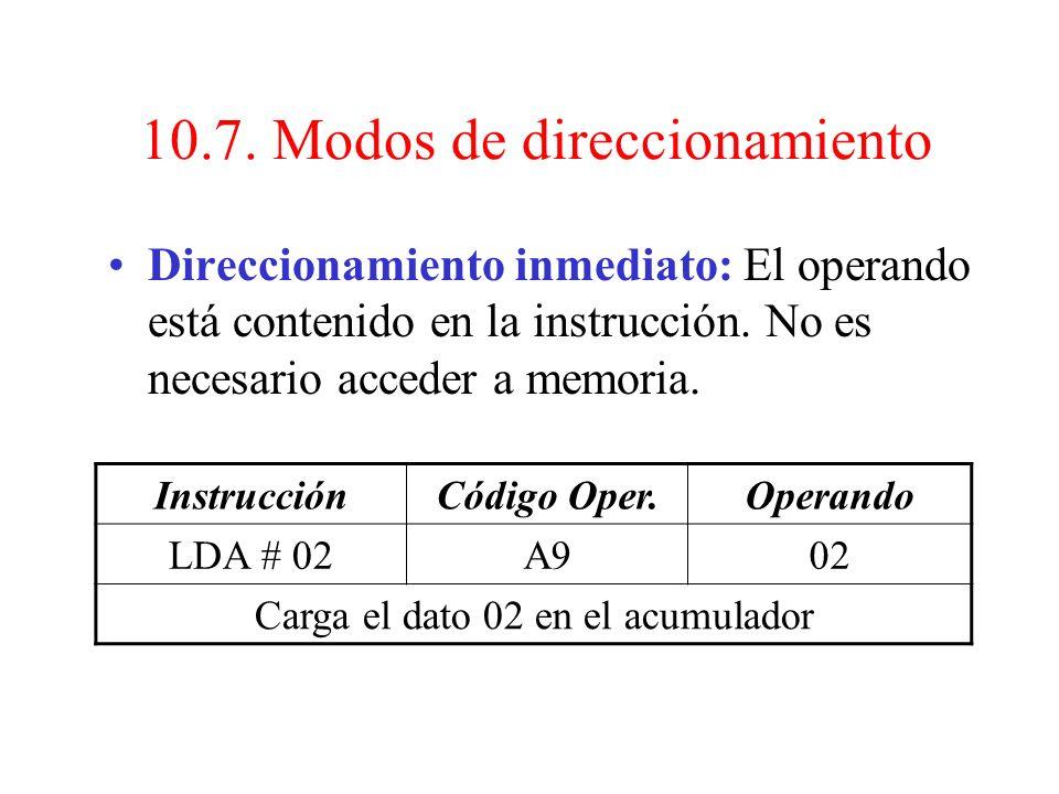 10.7. Modos de direccionamiento Los distintos modos de direccionamiento dependen de la CPU, de su estructura interna. Para el microprocesador 6502 ten