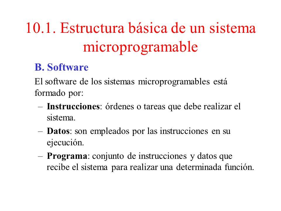 10.1. Estructura básica de un sistema microprogramable A. Hardware CPU (chip microprocesador): es un circuito integrado formado por una unidad de cont