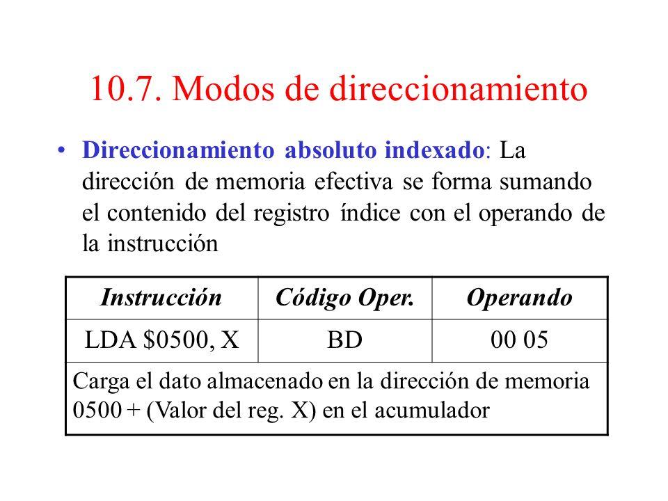 10.7. Modos de direccionamiento Direccionamiento relativo: El segundo byte contiene en complemento a 2 el valor que hay que sumar (restar) al C.P. si