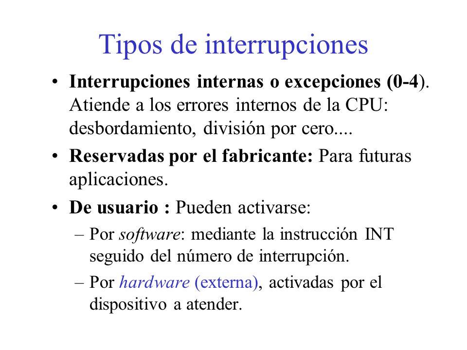 10.10. Interrupciones Una interrupción sería el proceso que, en función de alguna circunstancia externa o interna, permite al microprocesador interrum