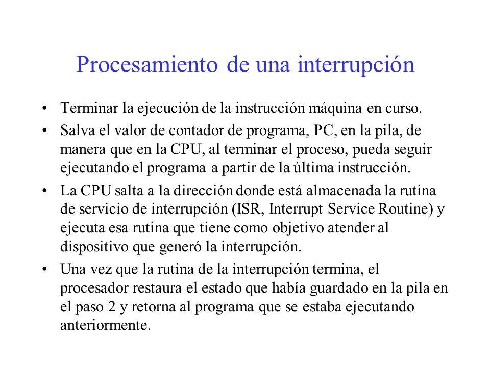 Tipos de interrupciones Interrupciones internas o excepciones (0-4). Atiende a los errores internos de la CPU: desbordamiento, división por cero.... R