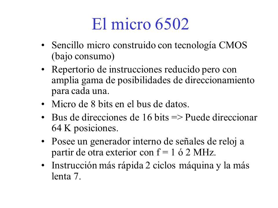 El micro 6502 Sencillo micro construido con tecnología CMOS (bajo consumo) Repertorio de instrucciones reducido pero con amplia gama de posibilidades de direccionamiento para cada una.