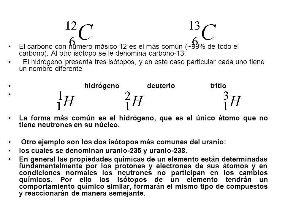 El carbono con número másico 12 es el más común (~99% de todo el carbono). Al otro isótopo se le denomina carbono-13. El hidrógeno presenta tres isóto