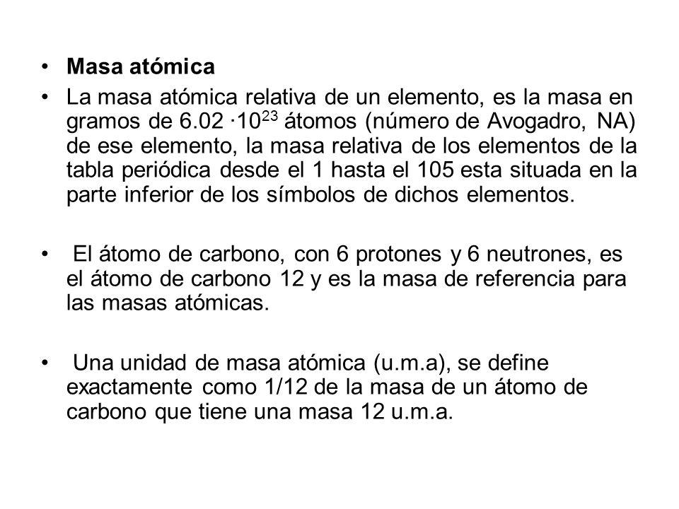 Masa atómica La masa atómica relativa de un elemento, es la masa en gramos de 6.02 ·10 23 átomos (número de Avogadro, NA) de ese elemento, la masa rel