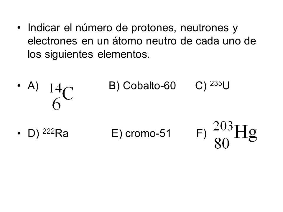 Indicar el número de protones, neutrones y electrones en un átomo neutro de cada uno de los siguientes elementos. A) B) Cobalto-60 C) 235 U D) 222 Ra