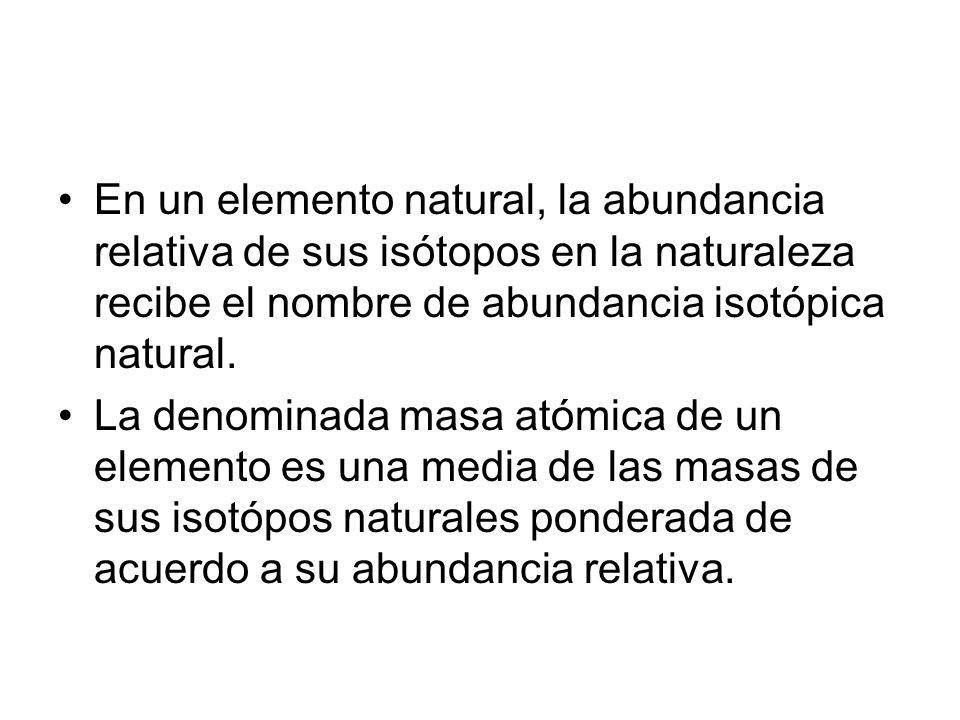 En un elemento natural, la abundancia relativa de sus isótopos en la naturaleza recibe el nombre de abundancia isotópica natural. La denominada masa a