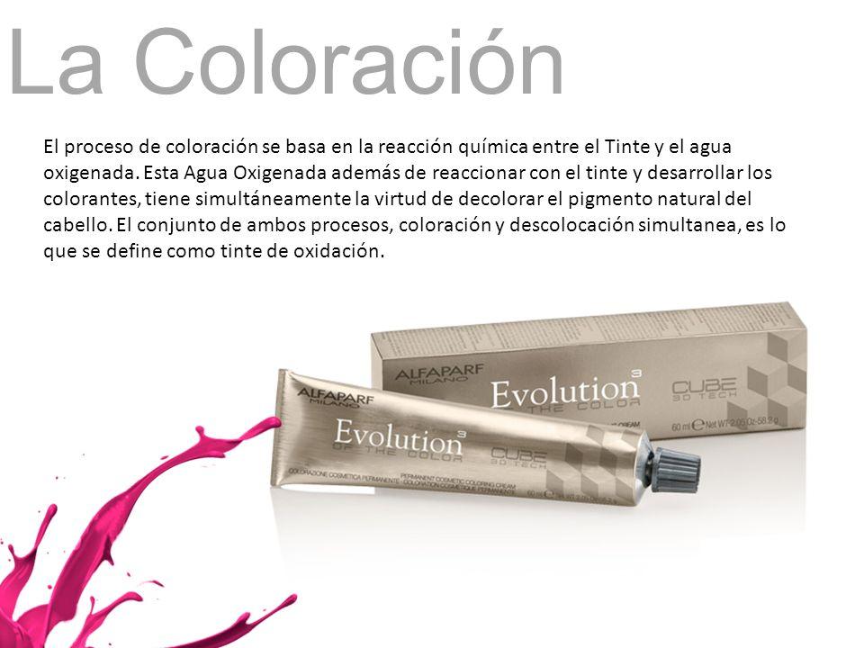 La Coloración El proceso de coloración se basa en la reacción química entre el Tinte y el agua oxigenada. Esta Agua Oxigenada además de reaccionar con