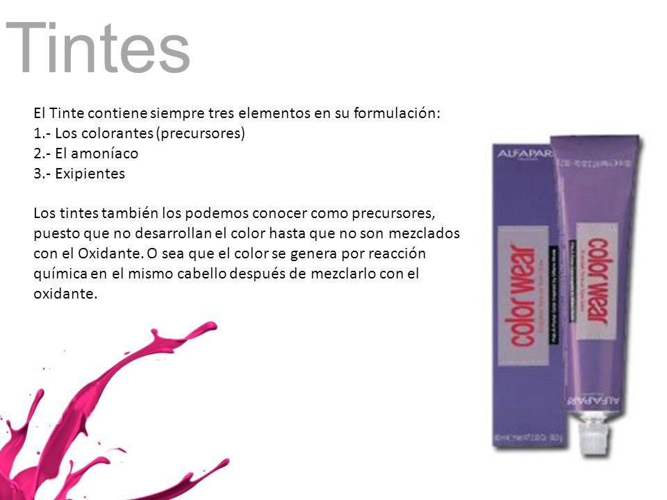 Tintes El Tinte contiene siempre tres elementos en su formulación: 1.- Los colorantes (precursores) 2.- El amoníaco 3.- Exipientes Los tintes también