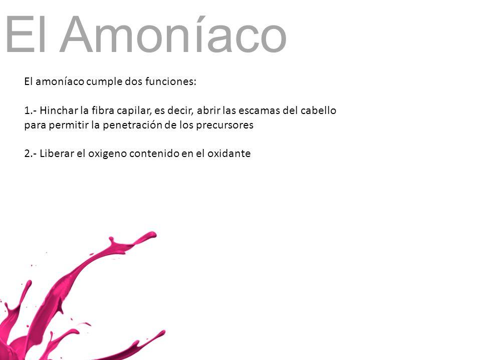 El Amoníaco El amoníaco cumple dos funciones: 1.- Hinchar la fibra capilar, es decir, abrir las escamas del cabello para permitir la penetración de lo