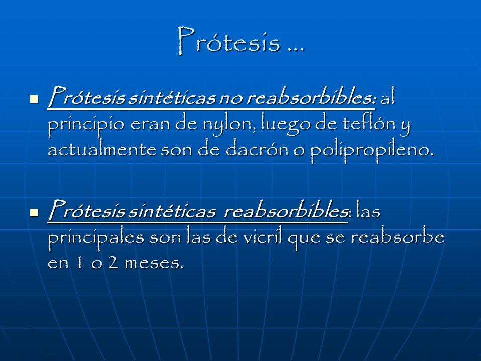 Prótesis … Prótesis sintéticas no reabsorbibles: al principio eran de nylon, luego de teflón y actualmente son de dacrón o polipropileno. Prótesis sin